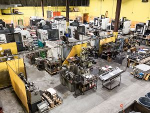 birds eye view of the Excell Solutions machine shop floor